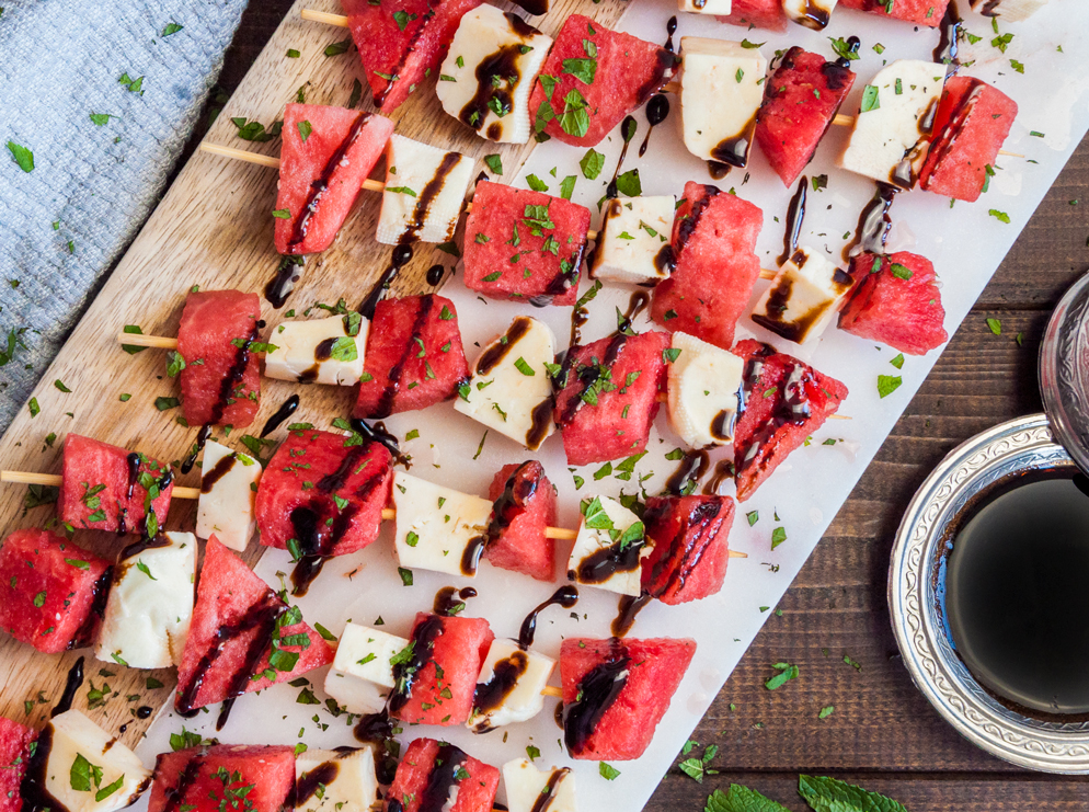 Watermelon Halloumi Salad with Balsamic Drizzle | thespiceathome.com