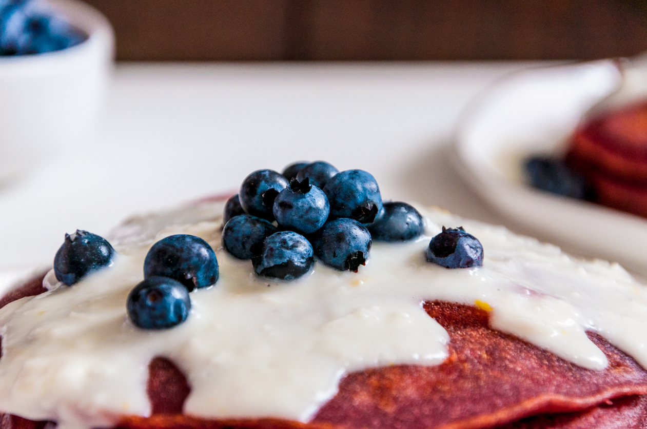 Red Velvet Pancakes with Lemon Coconut Syrup | thespiceathome.com