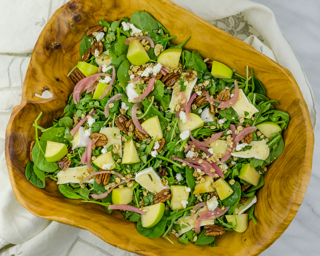 Apple Pecan Salad with Brie and Basil | thespiceathome.com