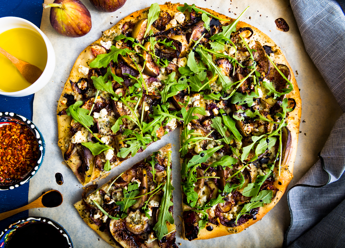 Fig and Caramelized Onion Flatbread with Balsamic Reduction