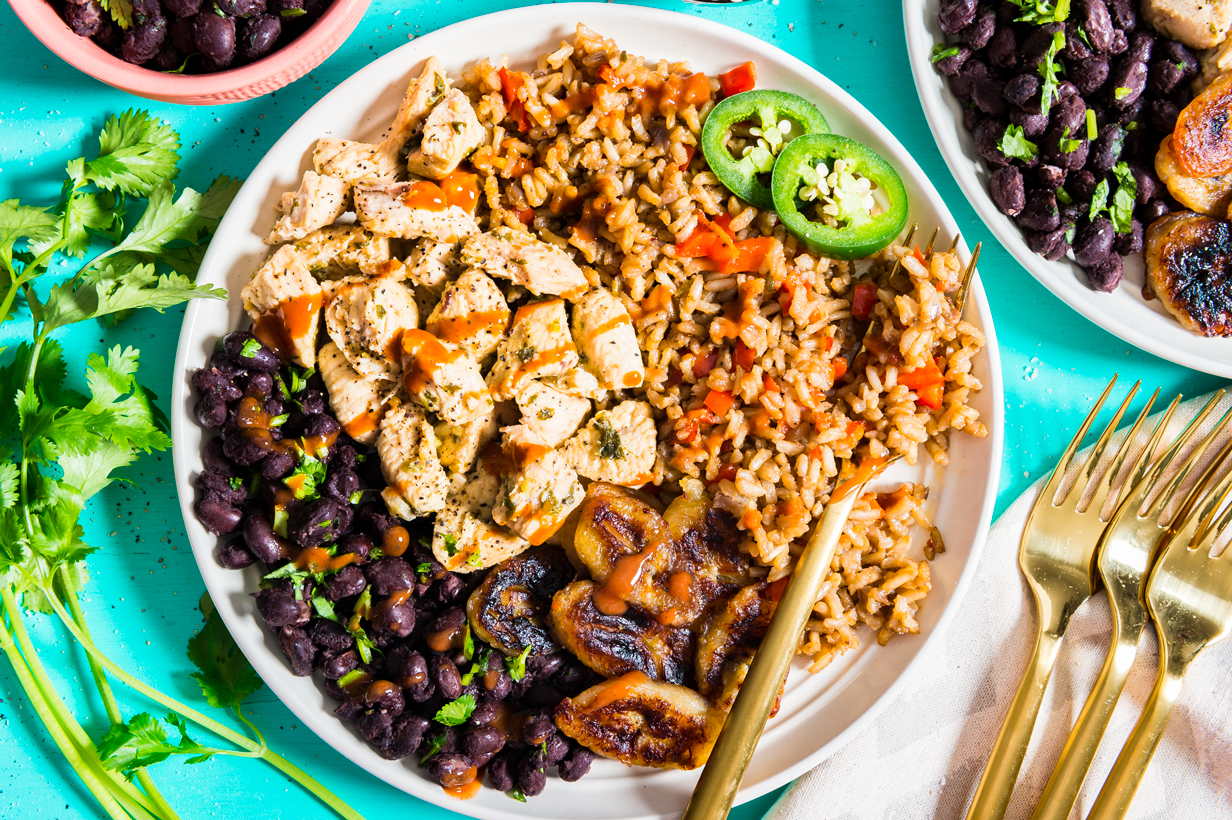 Cuban Rice Bowl with Fried Bananas and Black Beans