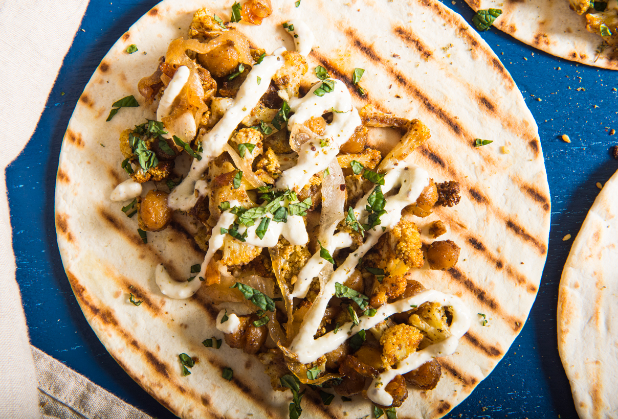Middle Eastern Cauliflower Tacos with Yogurt Garlic Sauce