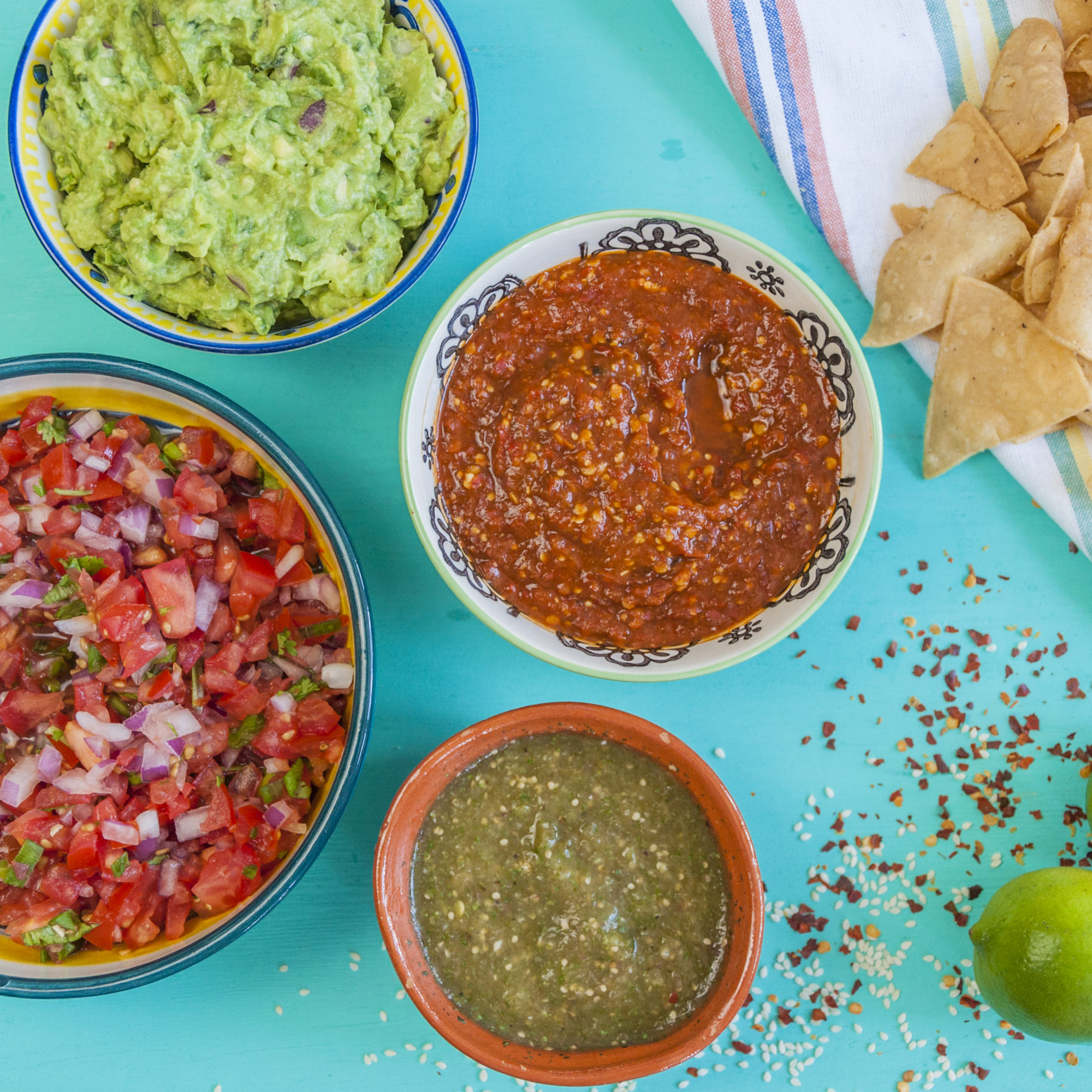 Fresh Homemade Guacamole, Salsa Roja, Pico de Gallo and Salsa Verde