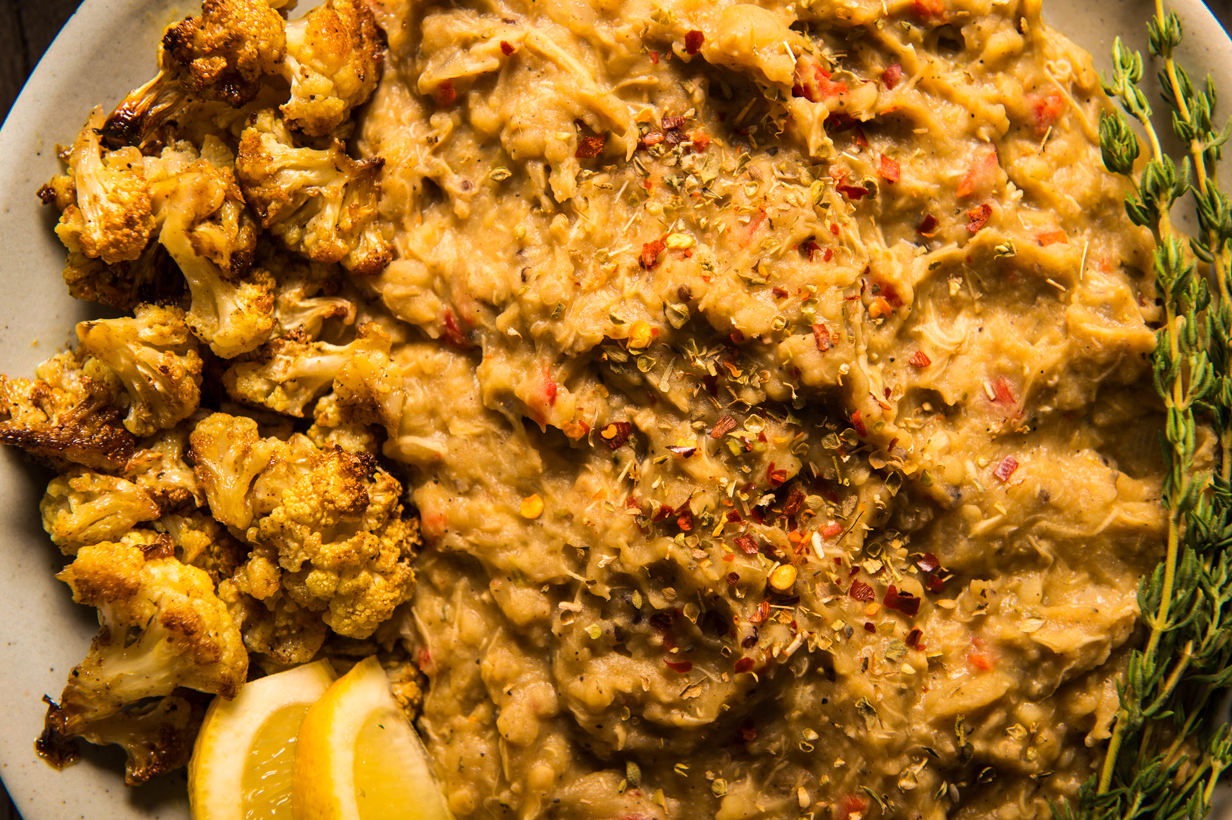 Slow cooked chicken in a medley of Lebanese spices, lentils and quinoa with roasted cauliflower
