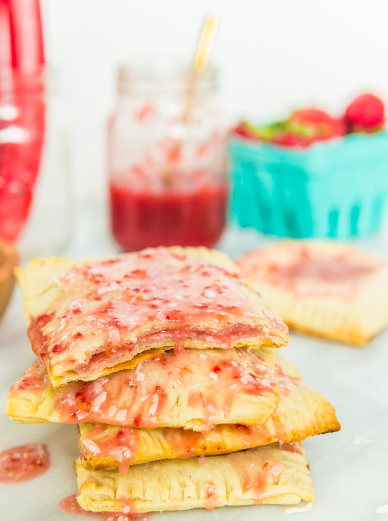 Rhubarb Pop Tarts with Coconut Strawberry Glaze | thespiceathome.com