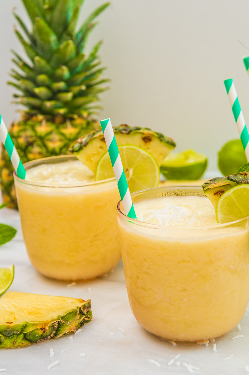 Fresh pineapples and lime juice mixed with cream of coconut and white rum