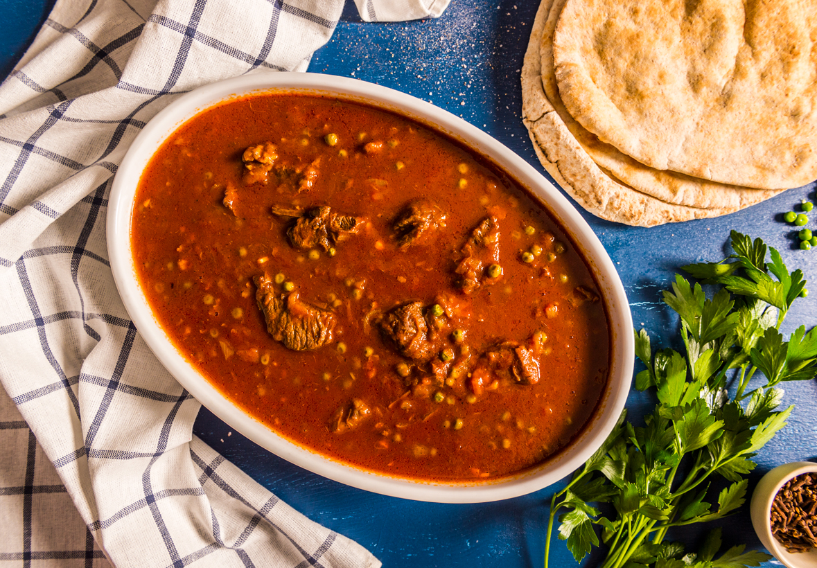 Beef slow cooked in a tomato and broth based sauce with Middle Eastern spices