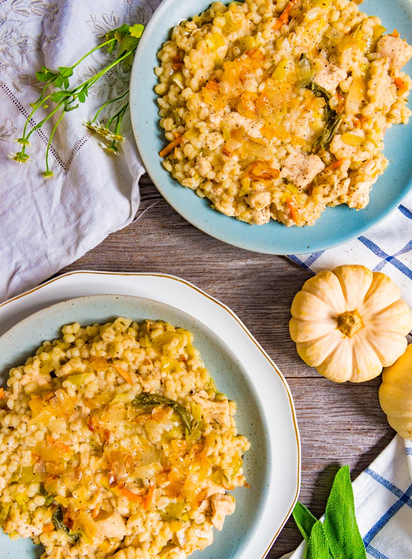 Savory chicken and barley with leeks, carrots and celery in a warm, cozy stew