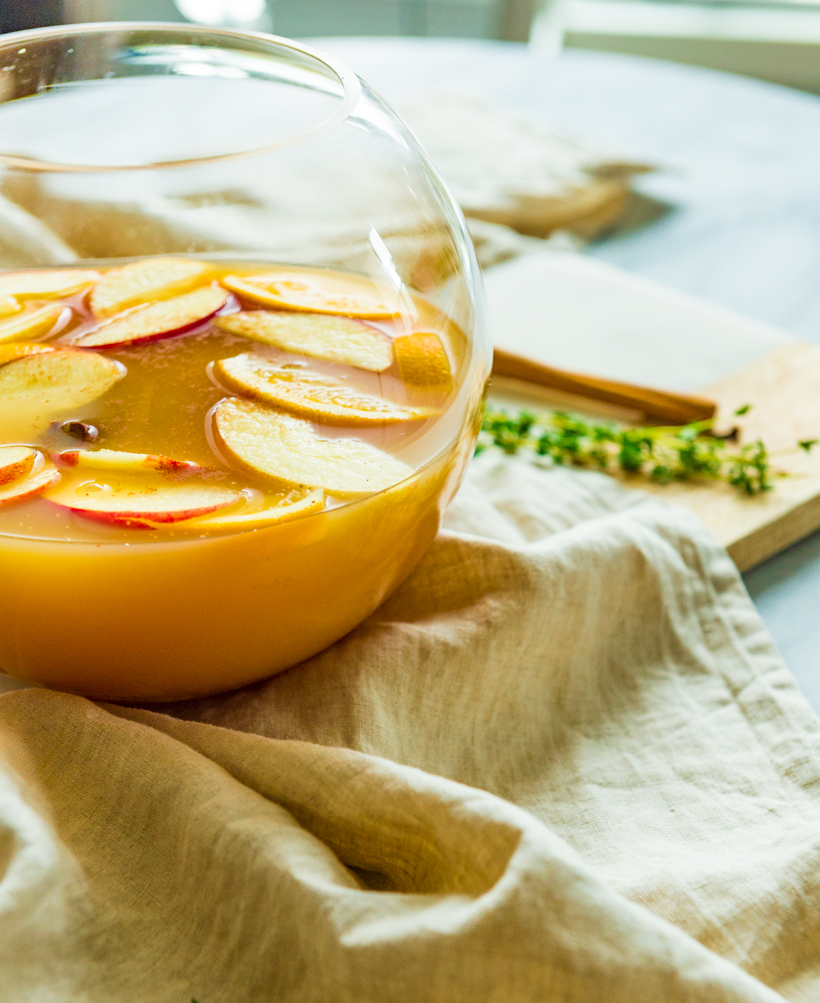 A homemade, warm apple cider simmered in whole spices simmered