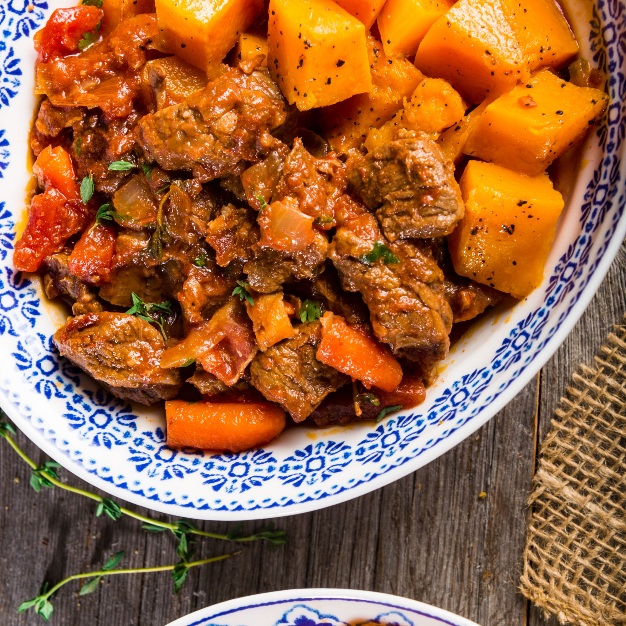 A spicy beef stew simmered in a smoky, chipotle flavored tomato sauce with fresh herbs