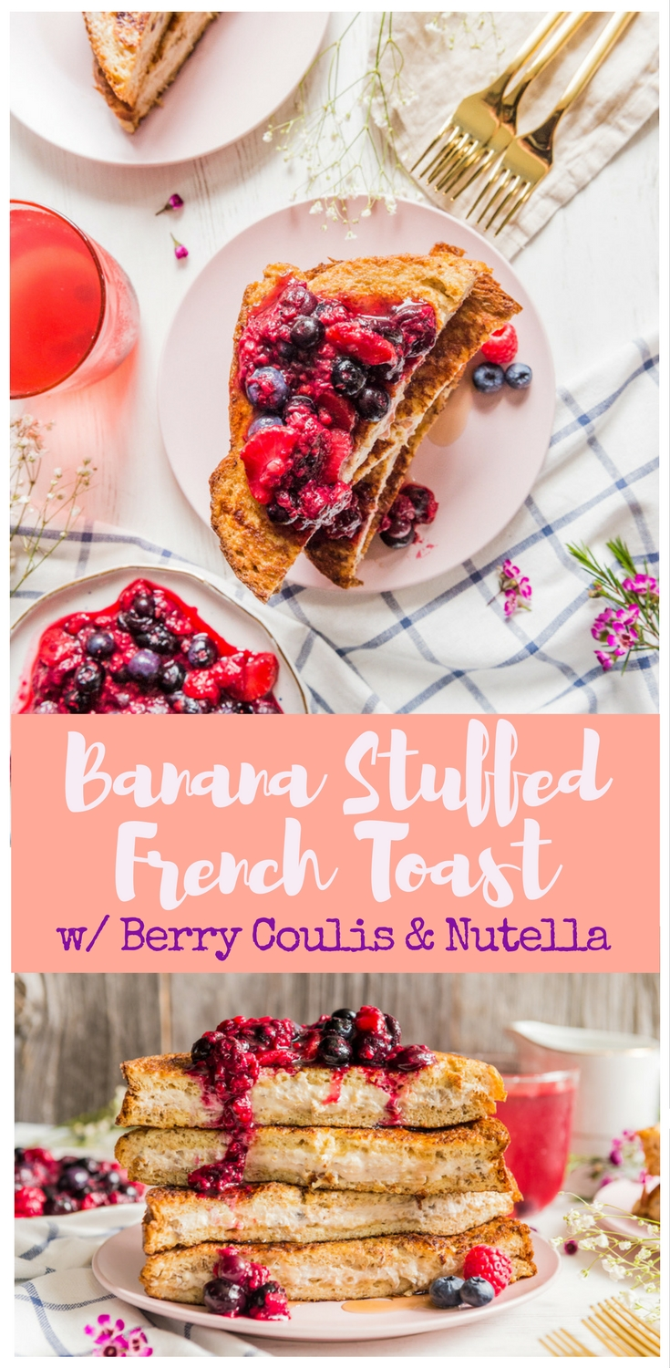 A banana-cream cheese filling is stuffed between 2 french toasts and topped with a homemade berry coulis!