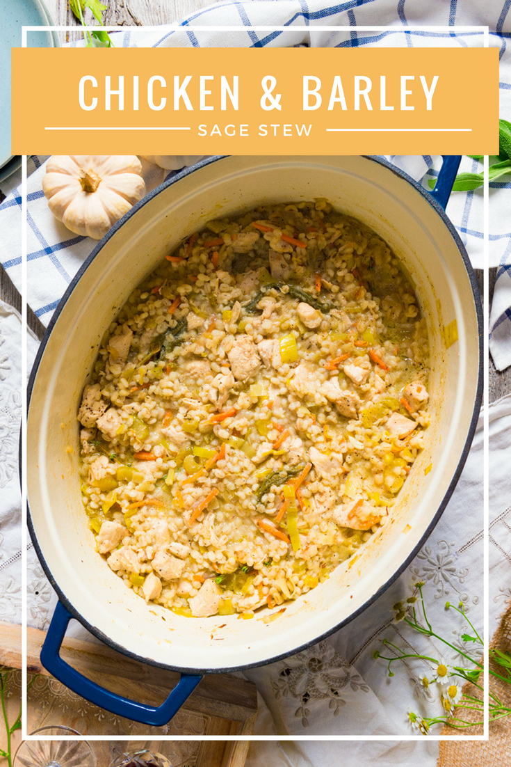 A savory stew with fresh sage, chicken and barley and seasonal vegetables | thespiceathome.com