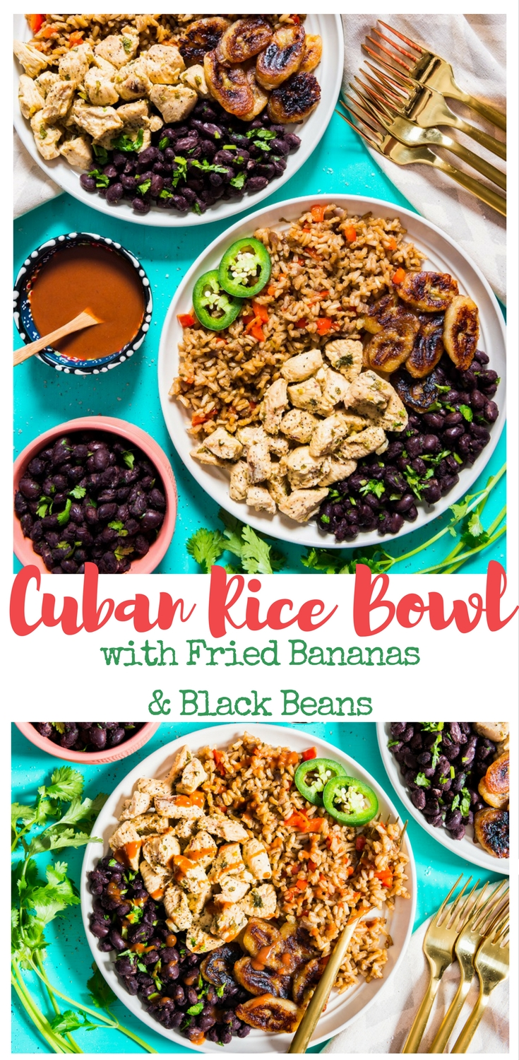 Bananas fried in coconut oil, black beans sauteed, spiced chicken and vegetable fried rice