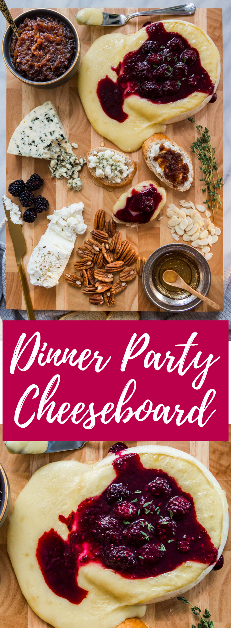 The ultimate cheeseboard appetizer for your next dinner party! Complete with a maple bacon onion jam and brie with blackberry merlot compote.