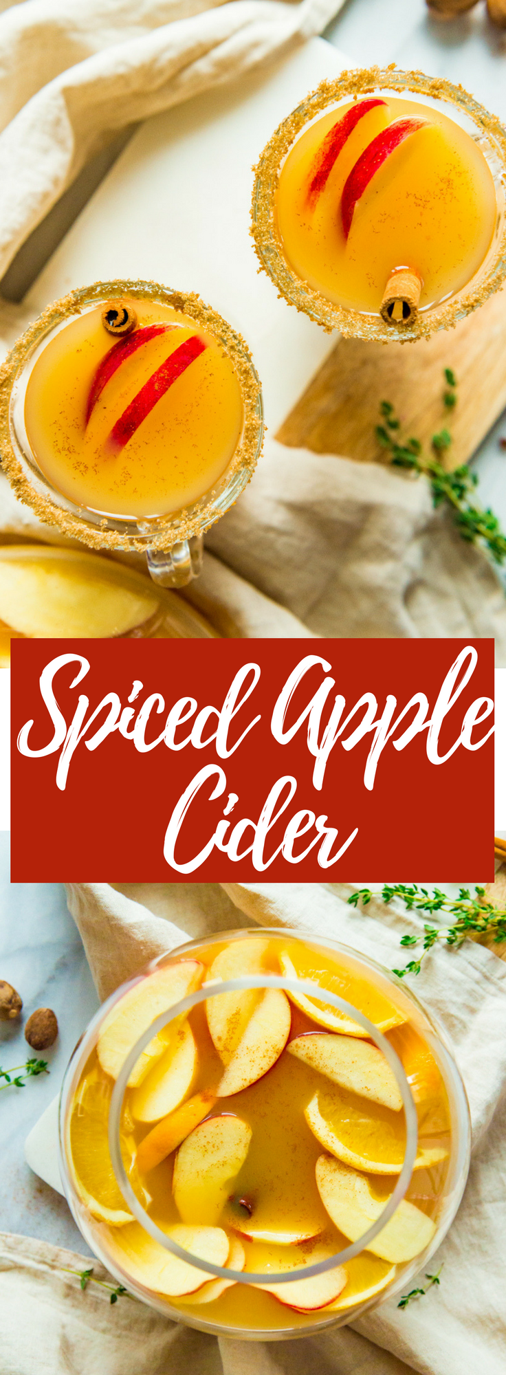 A homemade cider with tons of Fall spices, fresh apple juice and orange juice, warmed with rum for the perfect festive cocktail!
