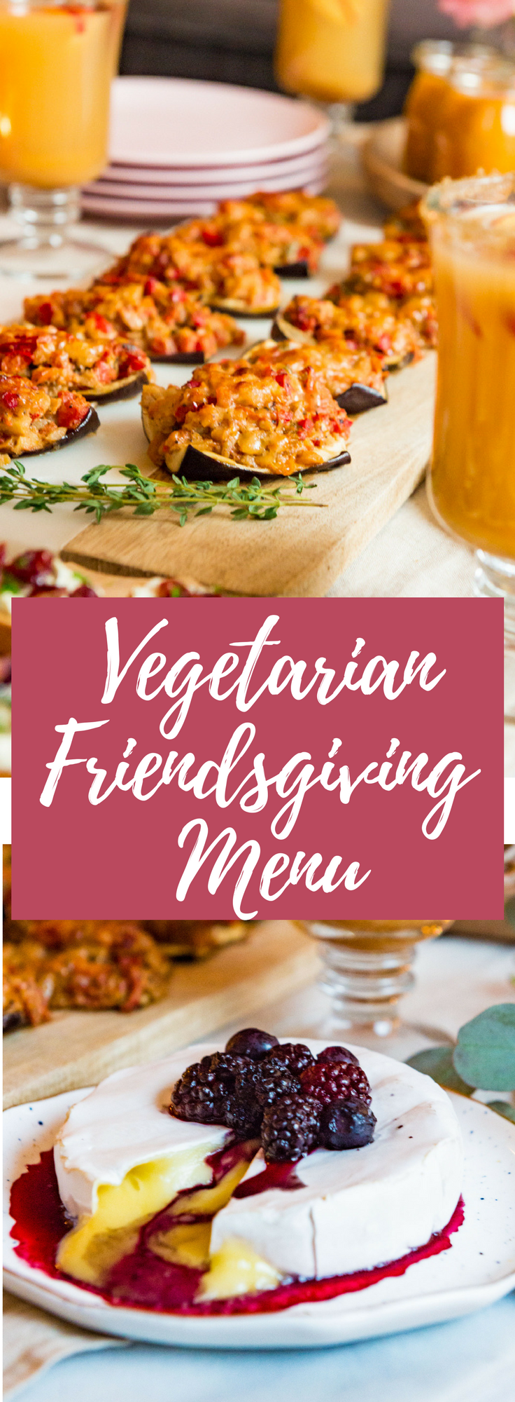 An all vegetarian, Friendsgiving themed menu and table set-up! Perfect for hosting Thanksgiving in a small space.