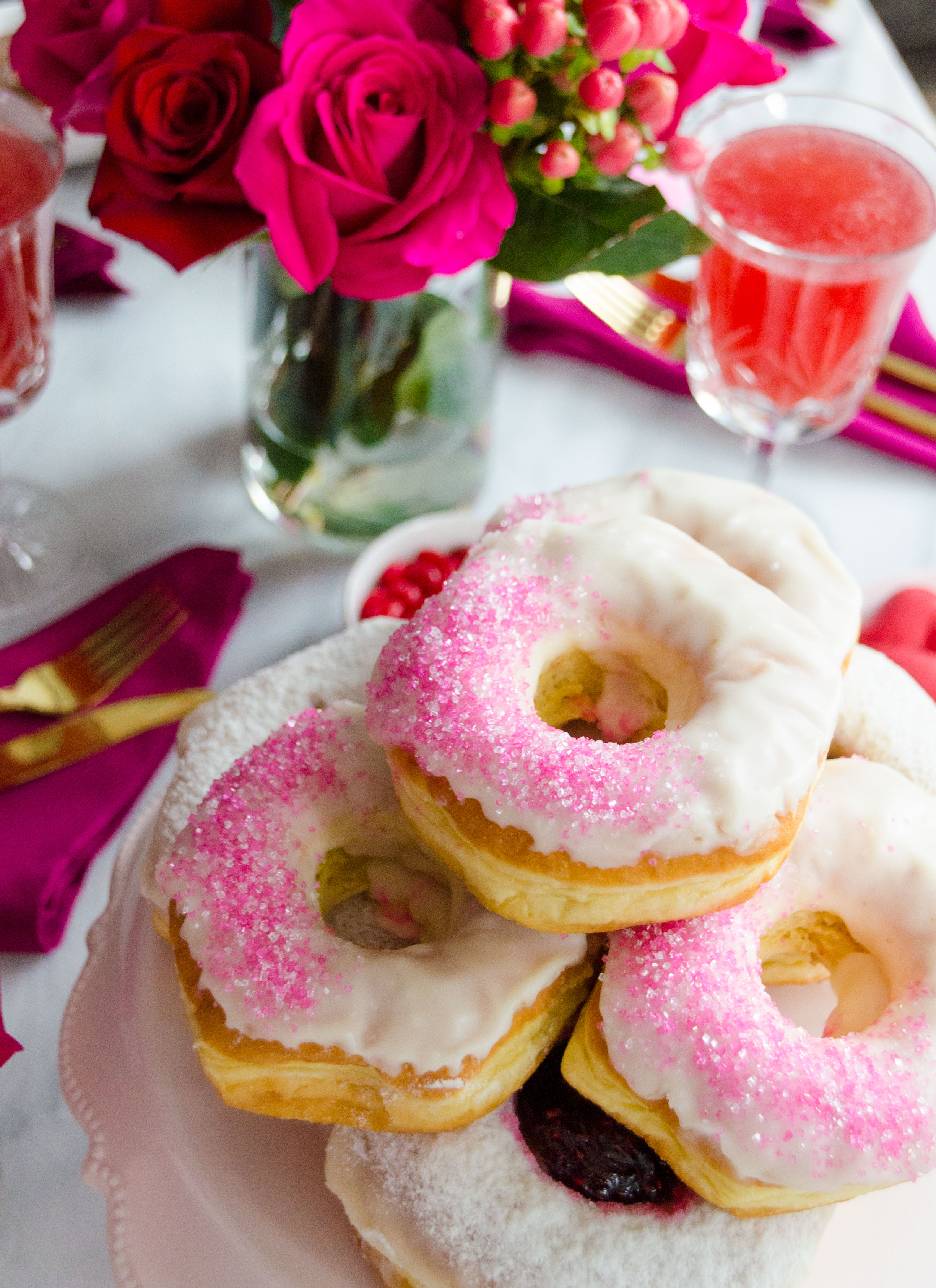 Celebrate love for your besties with a Galentine's Day Party to remember! Ask them to 'BAEmine' with a pink donut and bubby rosé cocktail in hand. This is the perfect party set-up for those who live in tiny spaces.
